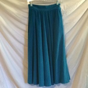 Awesome vintage 1980s  teal blue corduroy skirt